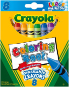 . Colouring Book Large Washable Crayons-8/Pkg