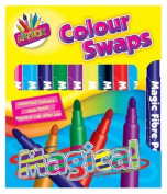 Pack Of 10 Bright Assorted Coloured Magic Felt Tip Colour Swap Pens