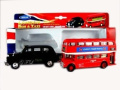 London Double Decker Red Bus and Black Taxi Models (Pull Back & Go Action)Made of Die Cast Metal and Plastic Parts