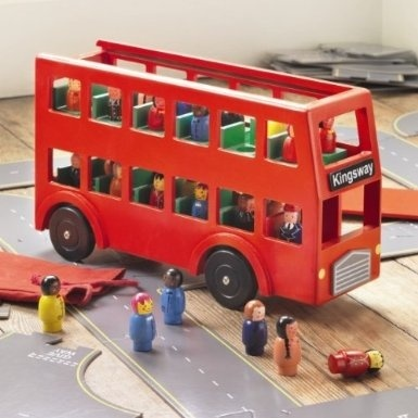 Wooden Red London Toy Bus With 24 Passengers By Traidcraft