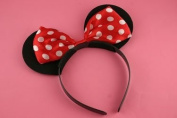 Cute pair of Black with red and white spotted bow Minnie mouse ears ,Fancy dress, Dressing up box , Hen nights