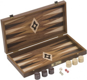 Walnut Backgammon Set - Backgammon Board measuring 47 x 25.5 x 7cm when open. Includes a Backgammon Board with 30 mother of pearl resin counters (15 of each colour). 4 standard dice, and a back gammon doubling die. The board closes to form ..