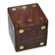 Wooden Dice Box and 5 Wooden Dice