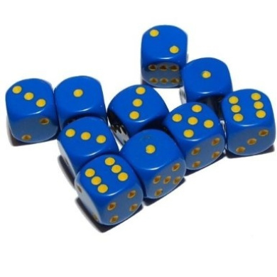 Big Cherry 10x Blue Dice with Yellow Spots, 16mm D6 (6 Sided), Bag of 10