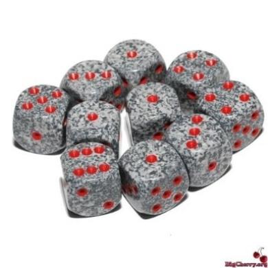 Big Cherry, 10 x 18mm, Round Cornered Grey Granite Dice