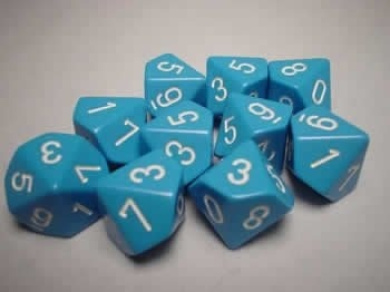 Chessex Dice Sets: Opaque Light Blue with White - Ten Sided Die d10 Set (10)