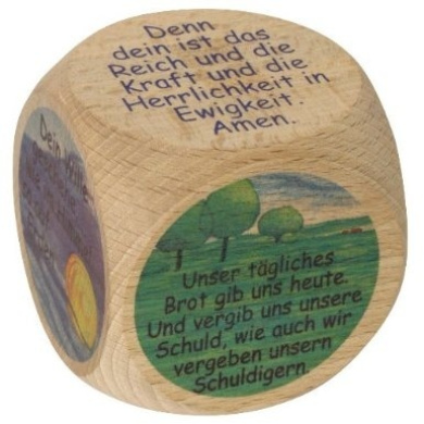 Wooden cube with Lord's prayer