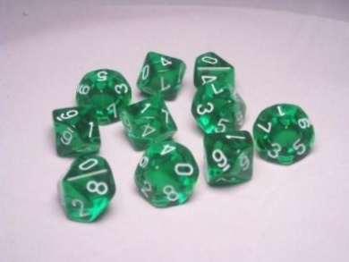 Chessex Dice Sets: Green with White Translucent- Ten Sided Die d10 Set (10)