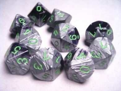 Chessex Dice Sets: Gemini Black & Grey / Grey with Green - Ten Sided Die d10 Set (10)
