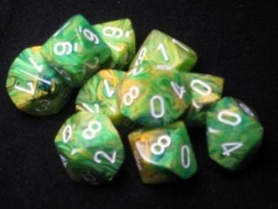 Chessex Dice Sets: Vortex Dandelion with White - Ten Sided Die d10 Set (10)