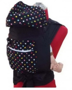 Palm and Pond Mei Tai With Hood & Pocket - Black With Small Polka Dots