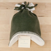Tuppence and Crumble soft fleece Baby Tassel Hat Sage 0-3 months