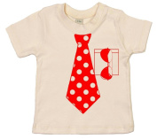 IiE, Spotty Necktie and Sunglasses, Baby Unisex Boy Girl T-shirt, 18-24m, Natural