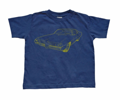 Boy's Toddler Blue T-Shirt with Muscle Car-2T