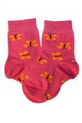 Weri Spezials Baby Socks, Butterflies, Yellow/Pink, Quality merc.Cotton