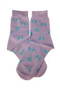 Weri Spezials Children Socks, Butterflies, Lilac, Quality merc.Cotton