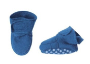 Organic Boiled Wool Baby Slippers / Booties Non slip Blue 8-12m+