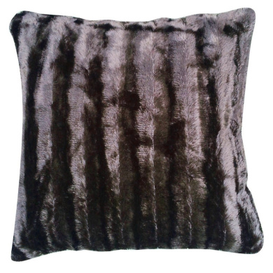 46cm Chocolate Shiny Stripes Faux Fur Cushion Covers By Goldstar