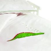 Saplings White Dino Cot / Junior Bed Duvet Cover & Pillow Case Set