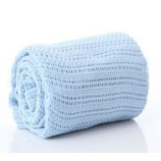 Baby Cellular 100% Cotton Blanket for Cot/Cot Bed - Blue