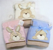 Beautiful Soft Touch Fleece Blanket With Puppy Motif - Cream