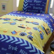 JCB Diggers Kids Single Duvet Cover With Pillow Case 137cm x 198cm