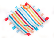 Thick Luxury Fleece Baby Tags Blanket with toy saver link Cool Stripe Labels