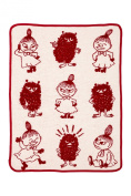 Moomin - Baby blanket, 100% cotton chenille -Little My & Stinky- red//white, 70x90 cm (Klippan) [2514-01]