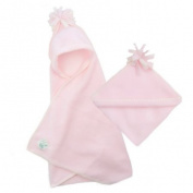 Tuppence and Crumble soft fleece hooded baby blanket wrap Pale Pink