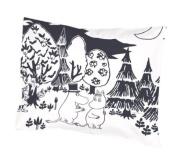 Moomin - Pillowcase -Evening- black and white, 55x65 cm