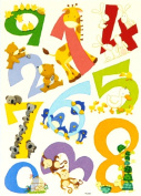 LARGE 0 to 9 CARTOON ANIMAL NUMBERS 123 WALL STICKERS - Peel, Apply & Reuse. - Top Quality Educational Kids Birthday Or Christmas Present - Teach Your Child Each Number, Count The Animals & Name The Colours - Best Selling Baby & Childs Gift Idea! 1 BAC ..