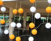 Two Tone Orange & White Cotton Ball Battery LED Fairy Light String