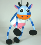 Springy Baby Cow Animal Brightly Coloured Mobile
