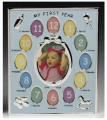 My First Year Baby Gift Idea Blue Photo Frame holds 13 Pictures