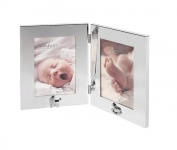 Double, Hinged Silver-plate Baby Photo Frame. Perfect to celebrate the birth of twins or a Christening