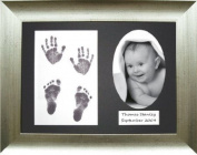 BabyRice 29cm x 22cm Baby Hand/ Footprint Inkless Wipe Kit with Antique Silver Effect Display Frame