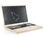 iWood, My First Laptop, Notebook Made out of Wood with Blackboard and Chalk
