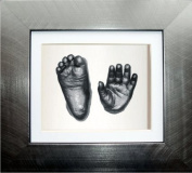 BabyRice 15cm x 13cm Anika-Baby Casting Kit with Brushed Pewter Effect 3D Box Display Frame