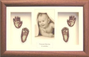 Baby Hand & Foot Casting Kit Set / Dark Wood Frame / Bronze Casts by BabyRice