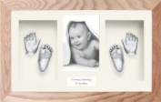 New Baby Plaster Casting Kit (Large / Twins) Solid Oak Box Display Frame, Silver paint by BabyRice