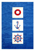 """Little Helper IVI Exclusive Hypo-Allergenic Large, Thick Pile & High Quality 3D Embossed Rug in """"Nautical"""" Design, Blue"""