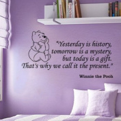 """Fungoo large winnie the pooh wall quote art sticker """"Yesterday is history,tomorrow is a mystery,but today is a gift,That's why we call it present"""" nursery wall saying decal art lettering for baby kids bedroom decor vinyl wallpaper gift - 78cmW x 40cmH"""