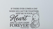 """Fungoo winnie the pooh quote wall art words sticker """"...KEEP ME IN YOUR HEART AND I'LL STAY THERE FOREVER """" nursery wall saying decal art lettering for baby kids bedroom decor vinyl wallpaper gift"""