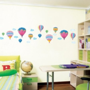 Decowall, DW-1301AC-2, 12 Hot Air Balloons in the Sky Wall Stickers/Wall decals/Wall tattoos/Wall transfers