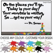 Dr Seuss Oh The Places You'll Go Quote Children's Bedroom Kids Room Playroom Baby Nursery Wall Sticker Wall Art Vinyl Wall Decal Wall Mural - Regular Size.