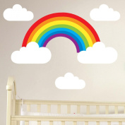 Rainbow and Clouds Removable Wall Sticker Set Children's Nursery Decal