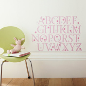 Kidscapes Alphabet Uppercase Wall Stickers, 26 Stickers A - Z and 57 Flower Stickers, Pink Polka