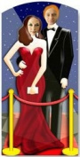Red Carpet Celebrity Couple Stand in Cardboard Cutout