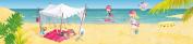 Wandpiraten 200 X 46.5cm Pink Pirates On The Beach Mural Wallpaper for Kids