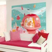Wandpiraten 186 X 150cm Space-Age Princess Mural Wallpaper for Kids